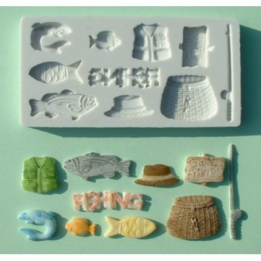 Alphabet Mould AM0015   Gone Fishing