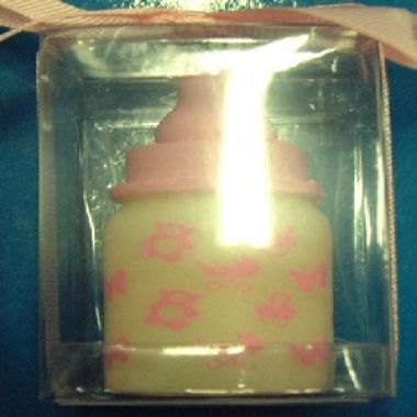 Pink Baby Bottle Candle