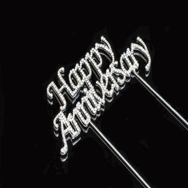 Diamante Design - Happy Anniversary Silver Large