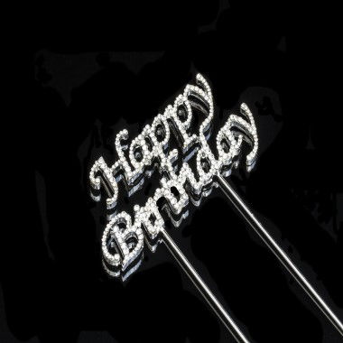 Diamante Design - Happy Birthday Silver Large