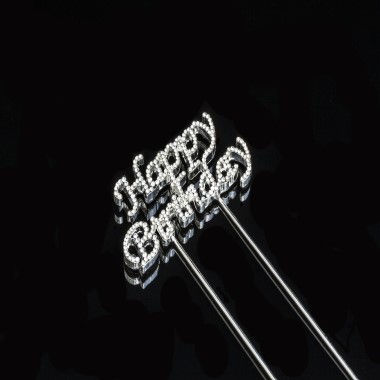 Diamante Design - Happy Birthday Silver Small