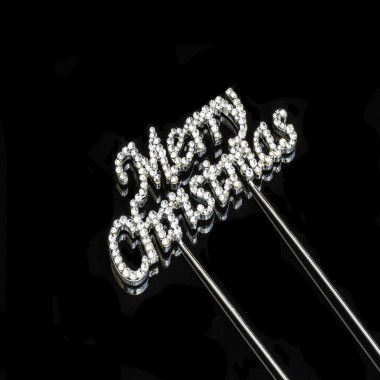 Diamante Design - Merry Christmas Silver Large