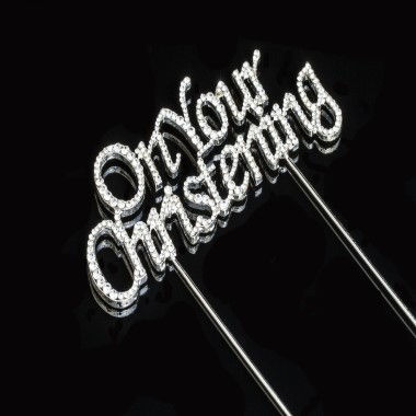Diamante Design - On Your Christening Silver Large