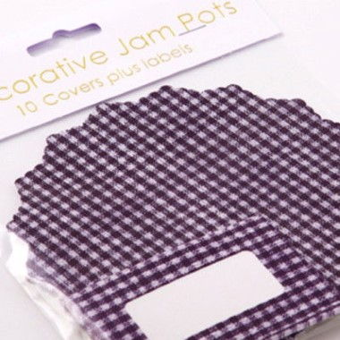N J Products - Blue Gingham Jam Pot Covers
