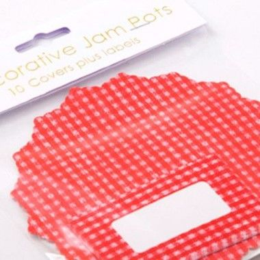N J Products   Red Gingham Jam Pot Covers