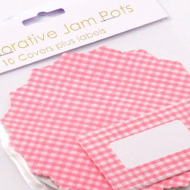 N J Products - Pink Gingham Jam Pot Covers