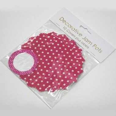 N J Products   Pink Polka Dot Jam Pot Covers