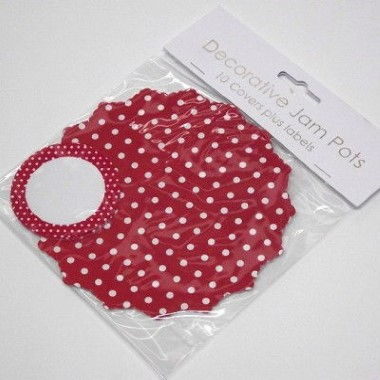 N J Products   Red Polka Dot Jam Pot Covers