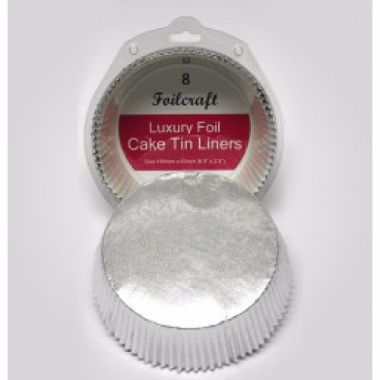 "7"" Round Tin Liner Silver Foil"