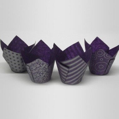 N J Products - Purple and Silver Vogue Tulip Muffin Wraps