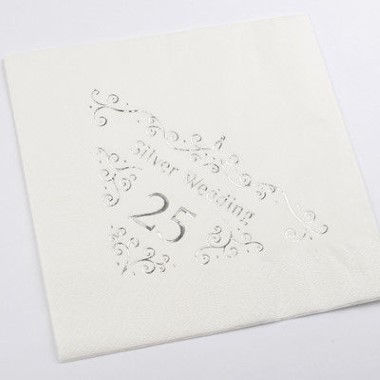 N J Products   Silver 25th Anniversary Napkins