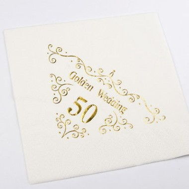 N J Products   Golden 50th Anniversary Napkins