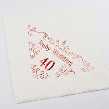 N J Products   Ruby 40th Anniversary Napkins