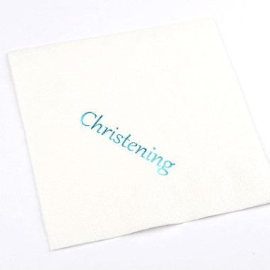 N J Products   Christening Napkins with Blue Print