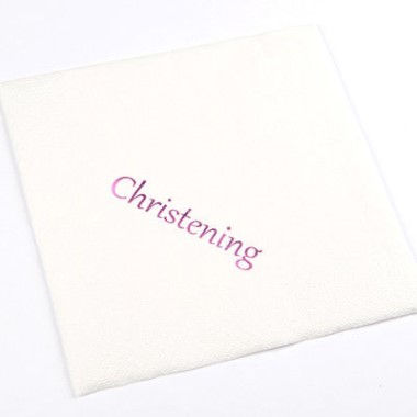 N J Products   Christening Napkins with Pink Print