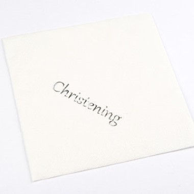 N J Products   Christening Napkins with Silver Print